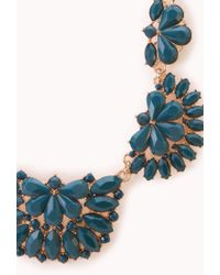 Forever 21 | Blue Elegant Faux Stone Bib Necklace | Lyst