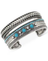 BCBGeneration | Metallic Silver-tone Imitation Turquoise Stone Cuff Bracelet | Lyst