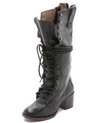 Freebird by Steven - Black Grany Lace Up Boots - Stone - Lyst