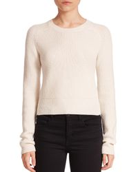 Helmut Lang | Natural Cropped Merino Wool & Cashmere Sweater | Lyst
