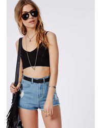 Missguided - Knitted Bralet Black - Lyst
