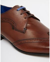 Ted Baker - Brown Hann Wing Tip Derby Shoes for Men - Lyst