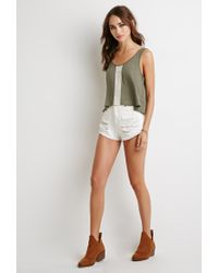 Forever 21 - Green Crochet Trim Slub Knit Tank You've Been Added To The Waitlist - Lyst