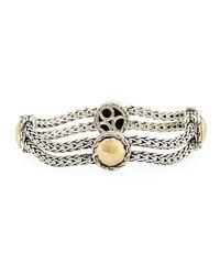 John Hardy | Metallic Palu Sterling Silver & 18k Gold Station Bracelet | Lyst