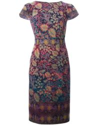 Etro - Multicolor Floral Print Shortsleeved Dress - Lyst