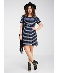 Forever 21 - Blue Plus Size Striped Stretch-knit Dress You've Been Added To The Waitlist - Lyst