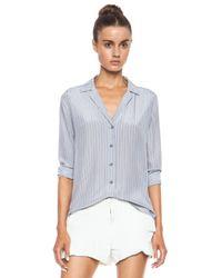 Equipment - Metallic Adalyn Menswear Stripe Silk Blouse - Lyst