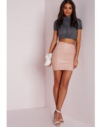 Missguided - Gray Stitch Front Faux Suede Crop Top Slate Grey - Lyst