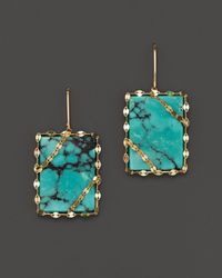Lana Jewelry - Green 14k Gold Turquoise Square Earrings - Lyst