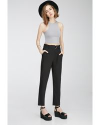 Forever 21 | Black Pleated Slim-leg Trousers | Lyst