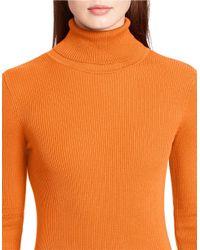 Lauren by Ralph Lauren | Orange Petite Ribbed Turtleneck Sweater | Lyst