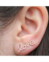 Anne Sisteron | Metallic 14kt Rose Gold Diamond Love Ear Cuff | Lyst