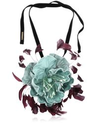Dries Van Noten | Blue Velvet Floral Necklace | Lyst