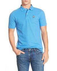 Psycho Bunny | Blue Pique Knit Polo for Men | Lyst