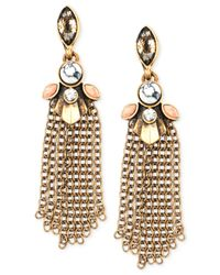 Anne Klein - Multicolor Gold-tone Tassel Post Drop Earrings - Lyst