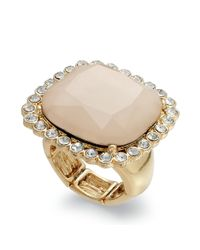 INC International Concepts - Natural Goldtone Blush Stone Crystal Adjustable Ring - Lyst