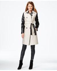 Calvin Klein | Black Mixed-media Trench Coat | Lyst