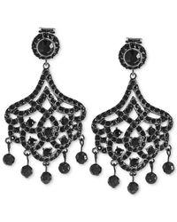 Carolee | Black Hematite-Tone Jet Glass Stone Large Chandelier Earrings | Lyst