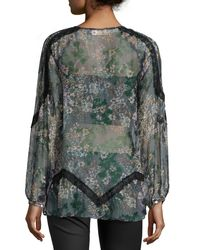 4 Love & Liberty | Gray Rosalee Long-sleeve Spliced Blouse | Lyst