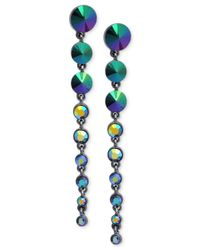 Guess - Metallic Hematite-tone Graduated Stone Drop Earrings - Lyst