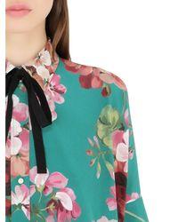 Gucci | Green Blooms Printed Silk Georgette Shirt | Lyst