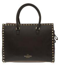 Valentino - Black Rockstud Mini Square Leather Bag - Lyst