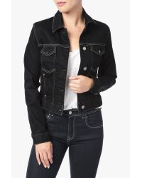 7 For All Mankind Black Cropped Trucker Jacket With Pop Stitch