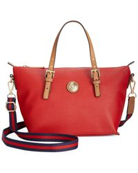 Tommy Hilfiger - Red Th Shopper Pebble Small Convertible Tote - Lyst