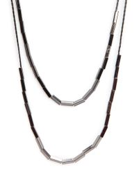 Mango | Black Double Chain Beaded Necklace | Lyst
