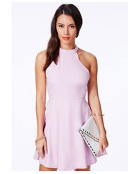 Missguided - Purple Adelia Halterneck Skater Dress In Lilac - Lyst