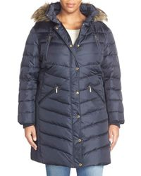MICHAEL Michael Kors | Blue Faux Fur Trim Down & Feather Puffer Coat | Lyst