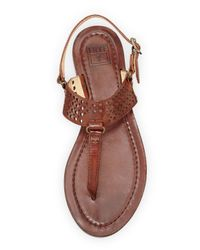 Frye - Brown Rachel Perforated Leather Flat Slingback Thong Sandal for Men - Lyst