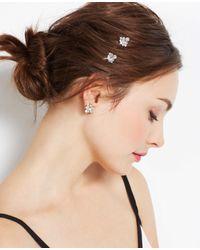 Ann Taylor | Metallic Leaf Stone Hair Clips | Lyst