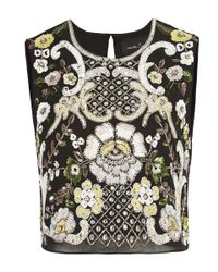 Needle & Thread - Black Ornate Sunflower Top - Lyst