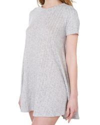 AKIRA | Gray Lay It Out Grey Ribbed T-Shirt Dress | Lyst