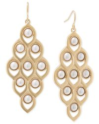 Carolee - Metallic Gold-tone Faux Pearl Chandelier Earrings - Lyst