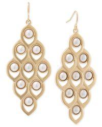 Carolee | Metallic Gold-tone Faux Pearl Chandelier Earrings | Lyst