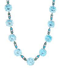 Bottega Veneta - Blue Zirconia And Oxidised-Silver Necklace - Lyst