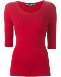 Dolce & Gabbana - Red Ribbed Fitted Top - Lyst