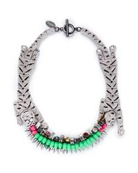 Venna | Multicolor Crystal Pavé Tiger Spike Crystal Necklace | Lyst