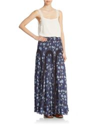 Free People - Blue Zoe Maxi Skirt - Indigo Combo - Lyst