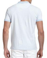 DIESEL - Blue Striped Cotton Polo Shirt for Men - Lyst