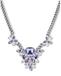 Givenchy - Metallic Silvertone Crystal Tanzanite Frontal Necklace - Lyst