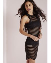 Missguided - Sheer Stripe Bodycon Dress Black - Lyst