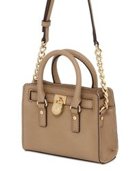 MICHAEL Michael Kors | Natural Mini Hamilton Saffiano Leather Bag | Lyst