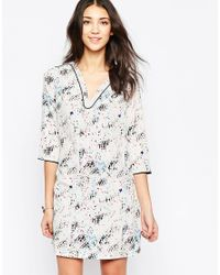See U Soon | Gray Printed Shift Dress With Pockets | Lyst