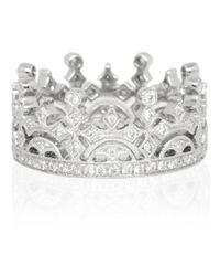 Kojis - White Gold Diamond Crown Ring - Lyst