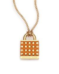 Michael Kors - Metallic Heritage Padlock Saffiano Leather Pendant Necklace - Lyst