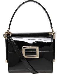 8123abcab37 Roger Vivier Miss Viv Mini Patent Shoulder Bag in Black - Lyst