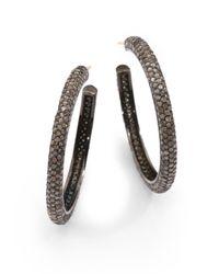 "Bavna - Metallic 6.59 Tcw Champagne Diamond & Blackened Sterling Silver Hoop Earrings/1.5"" - Lyst"